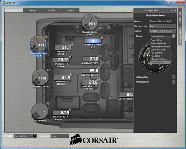 В комплект входит ПО Corsair Link Dashboard