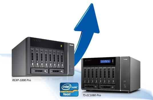 Модель TS-EC880 Pro имеет восемь отсеков для накопителей, TS-EC1080 Pro — десять