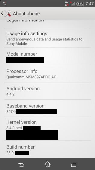 Скриншот, сделанный на Sony Xperia Z3 Compact