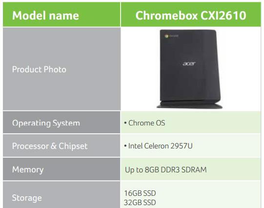 Acer Chromebox CXI2610 замечен в каталоге бизнес-продуктов компании на текущий год
