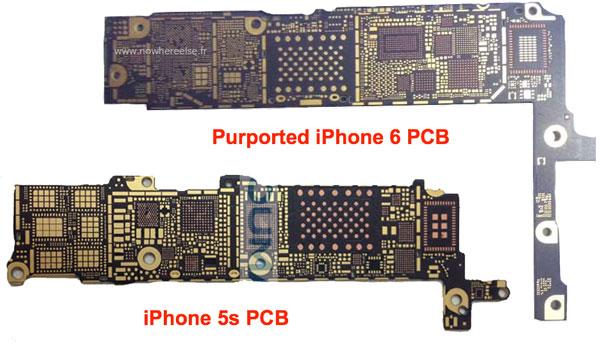 Плата смартфона Apple iPhone 6 несколько больше платы смартфона Apple iPhone 5s