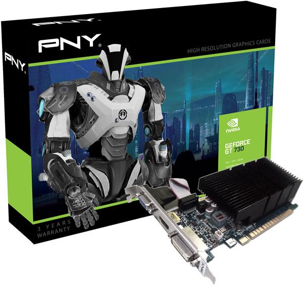 ����������� ����� PNY GeForce GT 730 �������� ����������� PCI Express 3.0 8x � ������������� DVI, VGA � HDMI
