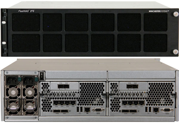 Хранилище FlashNAS ZFS RZ-2U12 типоразмера 2U рассчитано на 12 накопителей