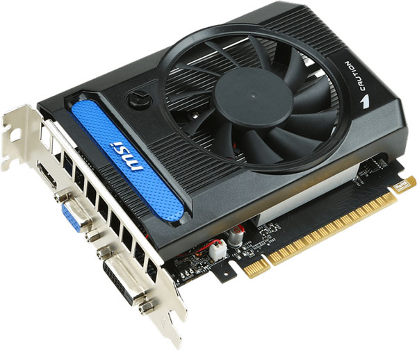 Все 3D-карты MSI GeForce GT 730 имеют по одному видеовыходу DVI-D, HDMI и D-Sub