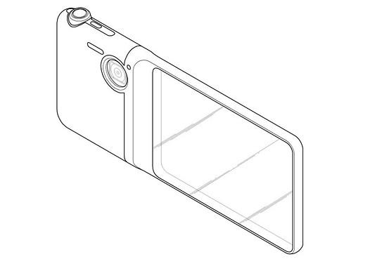 Экран занимает часть корпуса устройства, позволяя смотреть сквозь него