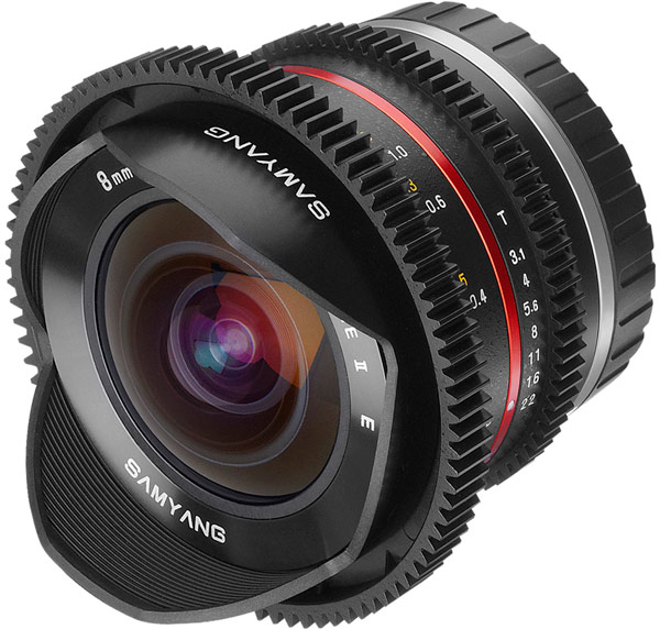 Объектив Samyang 8mm T3.1 V-DSLR UMC Fish-eye II оптимизирован для видеосъемки