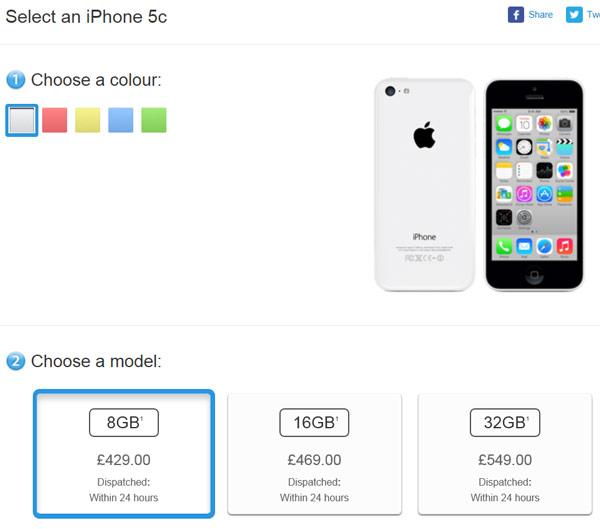 Apple не публикует данные о продажах Apple iPhone 5c