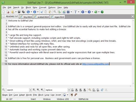 Рабочее окно EditPad Lite