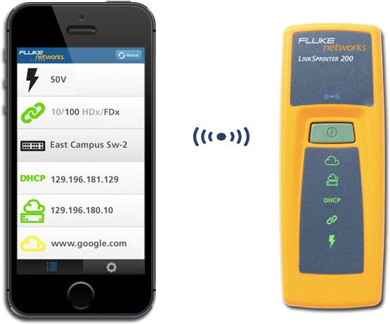 Карманный тестер Fluke Networks LinkSprinter подключается к смартфону