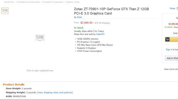 Рекомендованная цена 3D-карты Nvidia GeForce GTX Titan Z равна $2999
