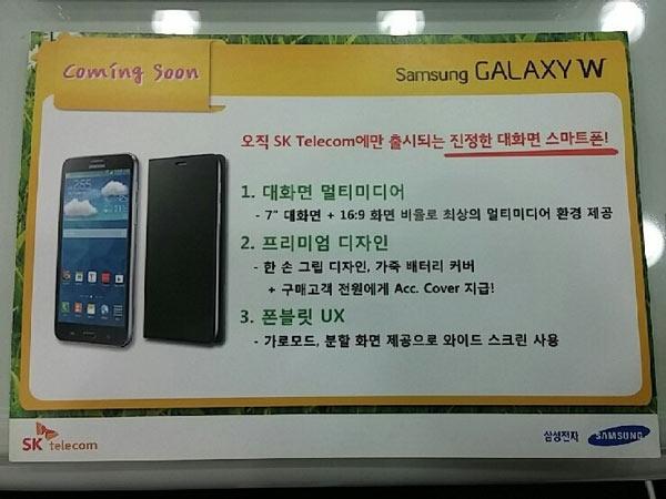 На международном рынке планшетофон Samsung Galaxy W будет представлен как модель линейки Galaxy Mega