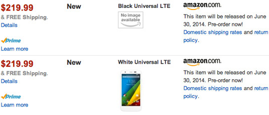 На сайте Amazon замечена версия смартфона Moto G с поддержкой LTE