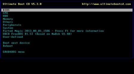 Рабочий экран Ultimate Boot CD