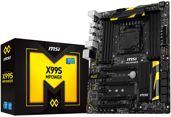 На плате MSI X99S MPower есть восемь слотов для модулей памяти DDR4 и четыре слота PCI Express 3.0 x16