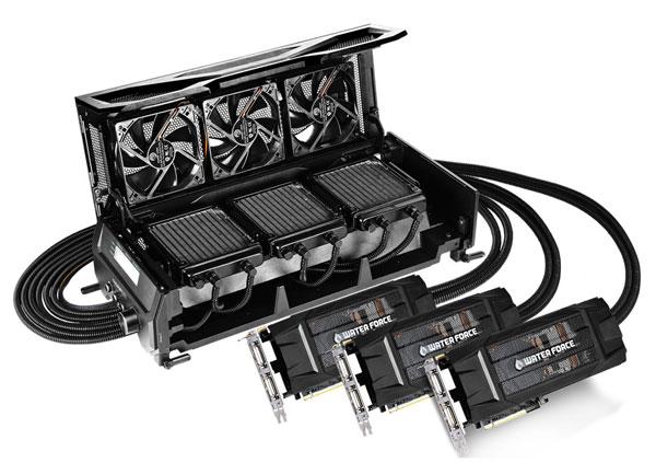 Gigabyte GV-N980X3WA-4GD — комплект из трех 3D-карт GeForce GTX 980 и системы жидкостного охлаждения