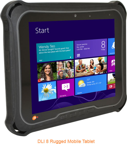 Усиленное исполнение позволяет планшетам DLI 8 и DLI 10 выдерживать многократные падения на бетонный пол с высоты 1,2 м