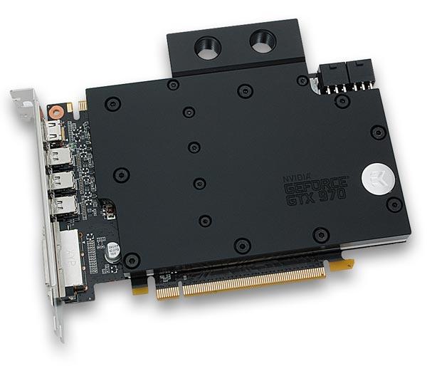 Водоблок с полным покрытием EK-FC970 GTX охлаждает GPU, микросхемы памяти и регуляторы напряжения