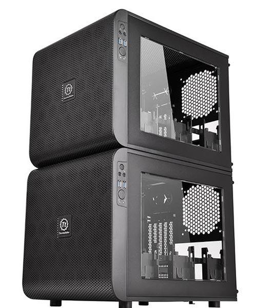 Производитель отмечает, что два корпуса Thermaltake Core V21 можно поставить друг на друга