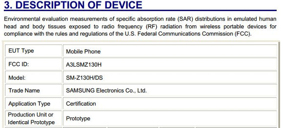 Смартфон Samsung SM-Z130H появится в продаже в этом месяце