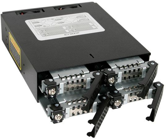 C помощью Icy Dock ToughArmor MB994SK-1B можно разместить в отсеке типоразмера 5,25 дюйма четыре накопителя