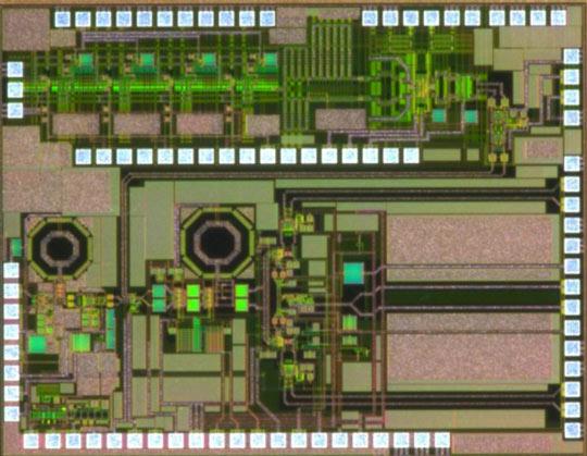 Микросхема приемника беспроводной связи, работающая в диапазонах 5 и 60 ГГц, изготавливается по технологии Si-CMOS