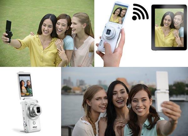 Поворотный дисплей и встроенная подставка делают камеру Nikon Coolpix S6900 хорошо подходящей для съемки автопортретов