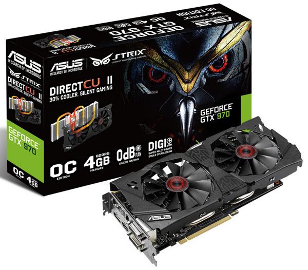 Стабильную и тихую работу 3D-карт Asus Strix GTX 980 и Strix GTX 970 обеспечивает охладитель DirectCU II
