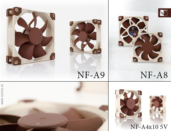 Серия вентиляторов Noctua A пополнилась моделями NF-A9, NF-A8 и NF-A4x10 5V типоразмера 92, 80 и 40 мм соответственно