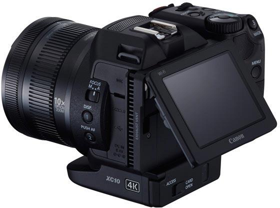 Интересной особенностью конструкции Canon EOS XC10 является вращающаяся рукоятка