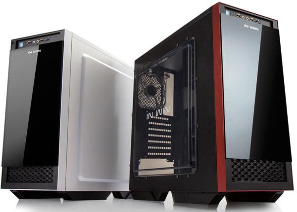 Сдвижная передняя панель компьютерного корпуса In Win 503 изготовлена из закаленного стекла