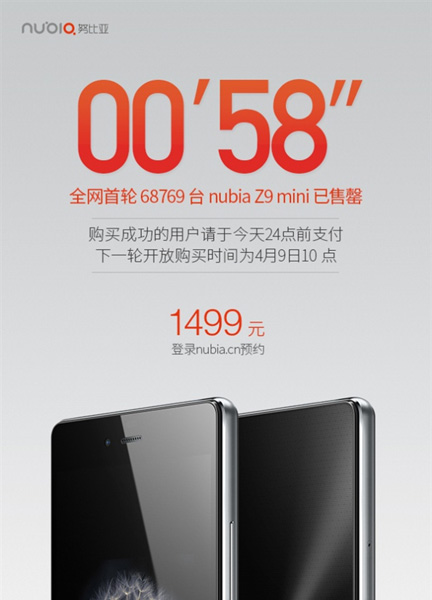 ZTE Nubia Z9 Mini пользуется высоким спросом в Китае