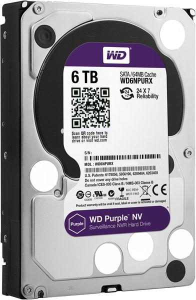 Объем накопителей WD Purple NV типоразмера 3,5 дюйма достигает 6 ТБ