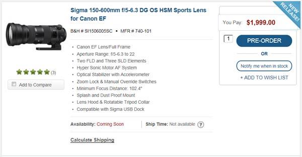 Объектив Sigma 150-600mm F/5-6.3 DG OS HSM Sports в США стоит почти $2000