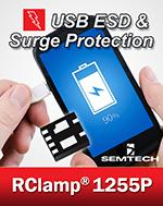 Миниатюрные размеры — 2,0 x 1,8 х 0,57 мм — позволяют использовать RClamp1255P в сотовых телефонах