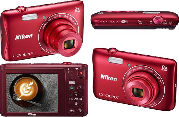 Камера Nikon Coolpix S3700 размерами 96 x 58 x 20 мм весит 118 г