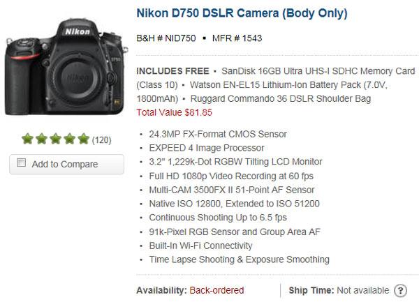 Компания Nikon пообещала бесплатно устранять проблему с засветкой в камерах D750