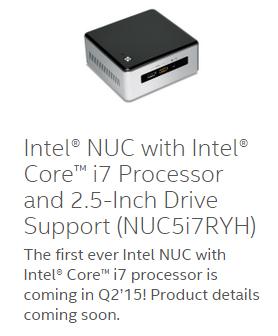 Intel NUC на базе процессора Intel Core i7 (Broadwell) выйдет во втором квартале