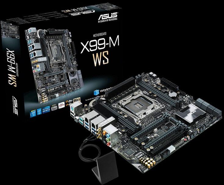 Системная плата Asus X99M-WS типоразмера microATX предназначена для рабочих станций