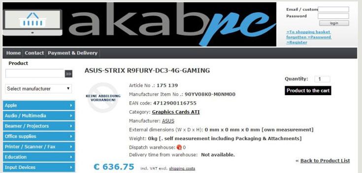 3D-карта Asus Radeon R9 Fury Strix будет оснащена охладителем DirectCU III