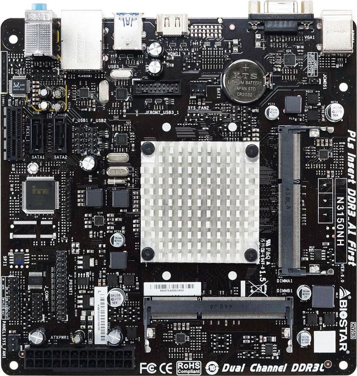 Плата Biostar N3150NH оснащена двумя слотами для модулей памяти SO-DIMM