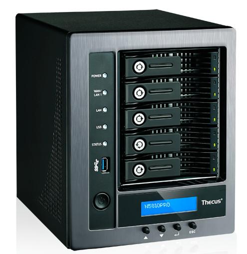 Сетевое хранилище Thecus N5810PRO оснащено пятью портами Gigabit Ethernet и встроенным источником бесперебойного питания