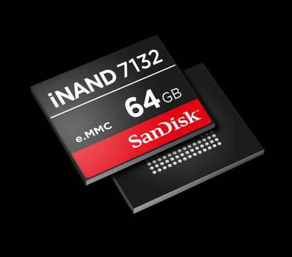 Встраиваемый твердотельный накопитель SanDisk iNAND 7132 предназначен для мобильных устройств