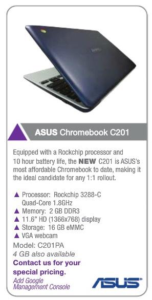 Asus C201 Chromebook: спецификации