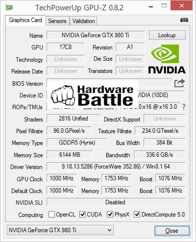 Стали известны частоты компонентов 3D-карты Nvidia GeForce GTX 980 Ti