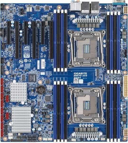 Системная плата Gigabyte MW70-3S0 поддерживает установку двух процессоров и трех 3D-карт