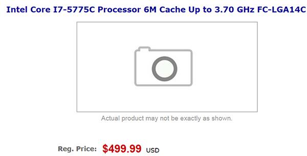 Процессор Intel Core i7-5775C (Broadwell) оценен в $500