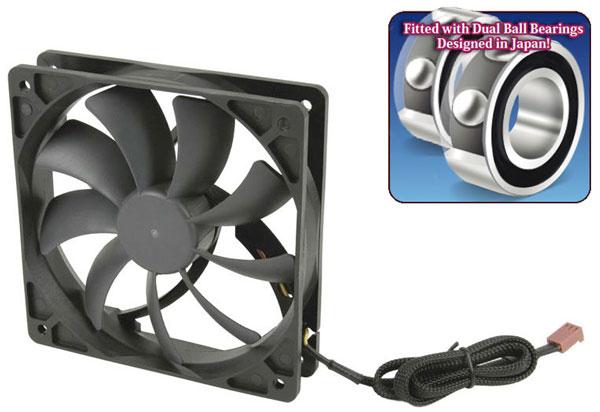 В вентиляторах Scythe Slip Stream 120 DB используются сдвоенные шарикоподшипники