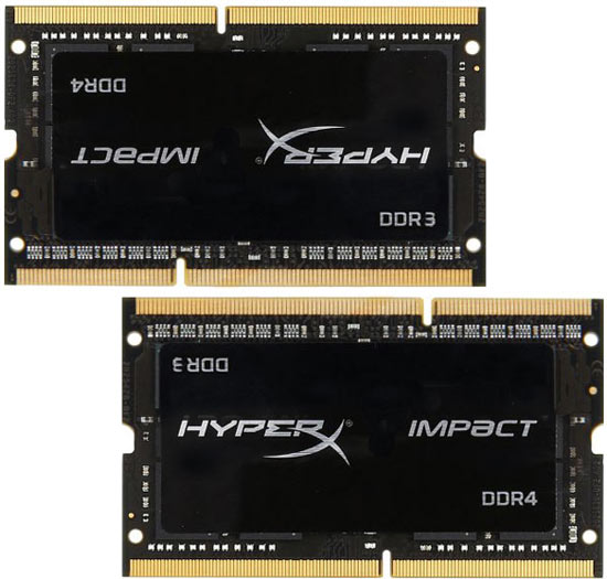 Модули Kingston SODIMM HyperX Hybro оснащены интерфейсами DDR3 и DDR4