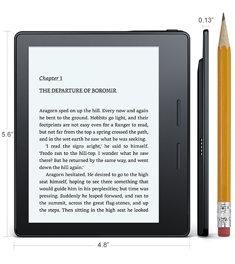 Электронная книга Amazon Kindle Oasis оснащена шестидюймовым экраном