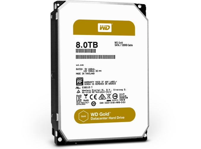 HDD WD Gold нацелены на использование в ЦОД